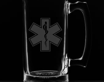 Star of Life 25 Ounce Personalized Beer Mug