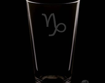 Capricorn 16 Ounce Personalized Rim Tempered Pint Glass