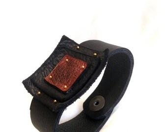 50% OFF SALE Geometric leather bracelet. Stylish leather cuff. Leather jewelry.Women's bracelet Casual elegance
