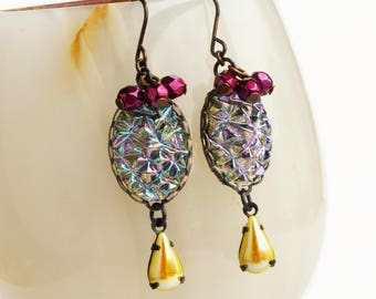 Pink Yellow Iridescent Crystal Earrings Vintage AB Glass Druzy Drusy Jewelry Crackle Glass Earrings Glamorous Statement Jewelry