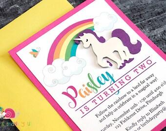 Rainbow Unicorn Invitations · A2 LAYERED · Enchanted Rainbow   Magical Unicorn Girls Birthday Party Invites