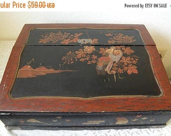 christmasinjuly Antique Japanese Writing Desk, Painted and Lacquered, Many Compartments