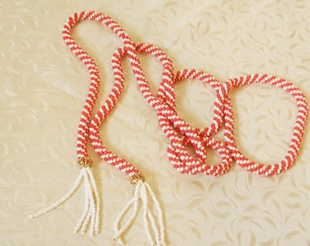 Long Beaded Rope Necklace, Orange and White Beads