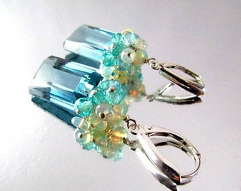 25 OFF Blue Green Amethyst With Ethiopian Opal and Apatite Sterling Silver Lux Earrings