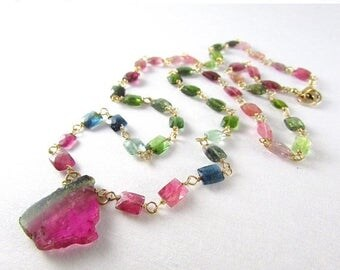 25 OFF Watermelon Tourmaline Gold Filled Wire Wrapped Necklace