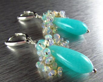 25 OFF Amazonite and Ethiopian Sterling Silver Lever Back Earrings