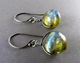 15% Off Handmade Lamp Work Beads And Sterling Silver Rustic Earrings, Basha Bead Earrings