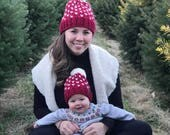 Bend Beanies, Wool blend faire isle mom and me Cranbery, red, knit, modern, trendy, chunky, beanie, Christmas, baby girl, women, pompom, hat