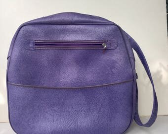 FREE SHIPPING Vintage 70s Lilac Purple Carry On Tote Suitcase Luggage