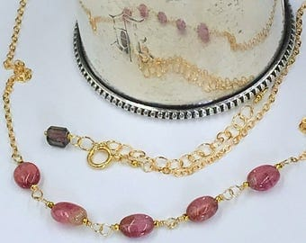 Pink Tourmaline Necklace Dainty Gemstone Necklace Watermelon Tourmaline Layering Necklace October Birthstone Gold Fill Doolittlejewelry
