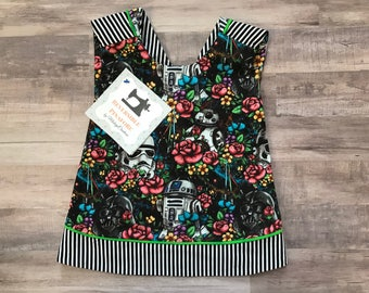 Floral Wars Reversible Crossover Pinafore Dress - Baby Girl - Black - Washable - Baby Shower Gift - New Baby - Star Wars - Darth Vader