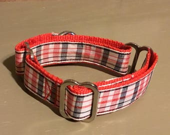 """FREE US SHIPPING   Red & Plaid Martingale Dog Collar. Fits 8"""" to 10"""" (20009)"""