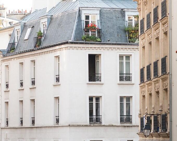 Paris Photography, Paris Apartment in Le Marais, flower boxes, soft blue, Paris, France, French Wall Decor, Gallery Wall, Paris Print