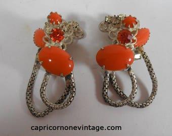 Vintage Robert Clip Earrings 1960s Original by Robert Cluster Earrings chunky Orange Glass Rhinestones Signed Robert 1950s Clip On Earrings