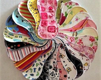5 cotton cloth panty liners - random variety