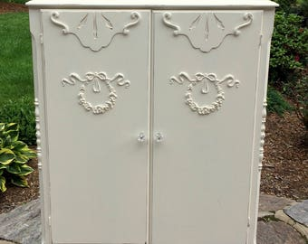Vintage Beautifully Restored Shabby Chic Chiffarobe Dresser with Rose Wreath and Ribbon Embellishments/Crystal Pulls