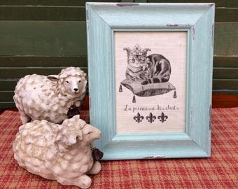 Tiger Cat with Crown, French Script, French Country Decor, Farmhouse Decor, Linen Print, Distressed Shabby Chic Frame, Distressed teal Frame
