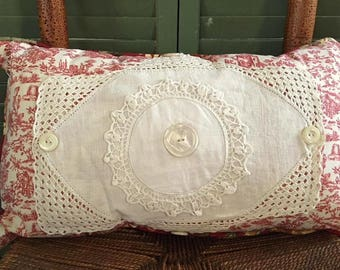 Decorative Lumbar Pillow Vintage Doily Red Toile, Vintage Buttons, Red, Linen Back