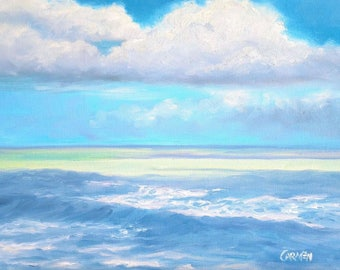Original Oil Daily Painting, Ocean Clouds, 8x10 Oil on Canvas Panel Seascape