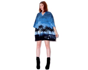 90s WEST COAST LOWRIDER palm tree beach shirt  xxl 2xl / oversized boyfriend shirt dress flame shirt grunge cyber club kid rave vaporwave
