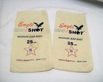 Vintage Ammunition Bags, Canvas Ammunition Bags, Vintage Eagle Shot Magnum Lead Shot 25 lbs Canvas Bags, Set of 2, Vintage