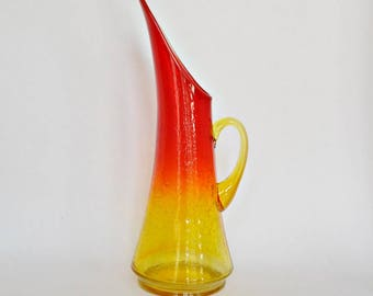 Vintage Amberina To Tangerine Crackle Glass Pitcher