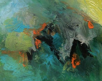 Tales of the Bird / Abstract Expressive painting green blue orange art  10 x 10 in, Russ Potak