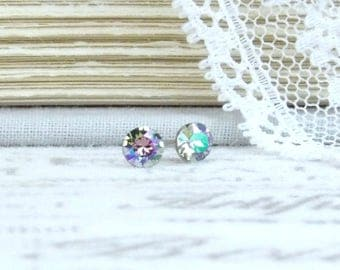 Iridescent Earrings 4mm Studs Rainbow Earrings Tiny Stud Earrings Surgical Steel Studs Small Earrings