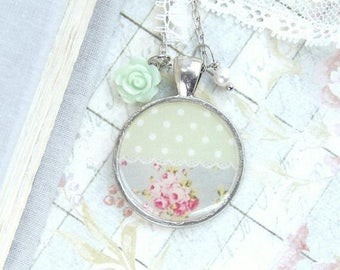 Shabby Chic Necklace Pink Rose Necklace Vintage Style Necklace Shabby Chic Gift Polka Dot Necklace
