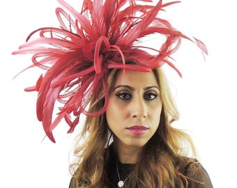 Burgundy Devastator Fascinator  Hat for Weddings, Occasions and Parties on a Headband