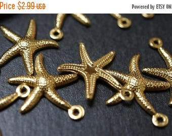 SUMMER CLEARANCE CLOSEOUT Sale - High Quality Solid Raw Brass Starfish Charm Pendants - 22mm - 10 pcs