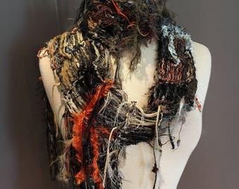 Fringed knit Fashion Scarf, 'Rusty Metals, Dumpster Diva, Knit Fringed Grey Black Rust Scarf, bohemian fashion, indie, scrappy knit scarf