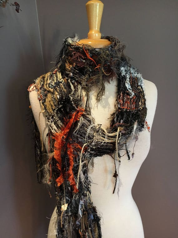 Fringed knit Fashion Scarf, 'Rusty Metals, Dumpster Diva, Knit Fringed Grey Black Rust Scarf, bohemian fashion, indie, scrappy knit scarf