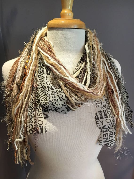 Fringe art scarf, Traveler, cream white black shaggy scarf, city print, Handmade Boho Scarf, travel gift, newsprint scarf, ribbon scarf