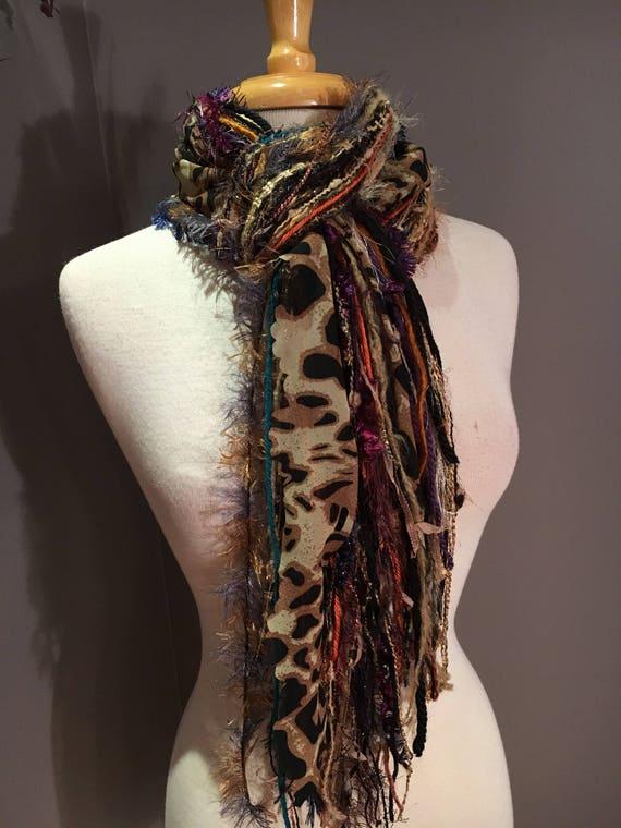 Fringie in Harvest Cheetah, XLong, All Fringe Scarf, animal print hand-tied fringe scarf, fur scarves, fringe fashion, Boho, gypsy scarf