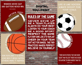 Sports Poster, Sports Quote, Boys Sports Decor DIGITAL, YOU PRINT, Motivational Boys Sports Decor,Sports Playroom Decor,Sports Birthday