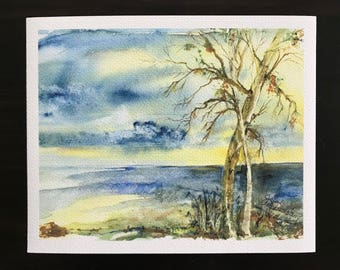 Fine Art Giclee Watercolor Print, Blue and Yellow with Stormy Clouds, Bare Trees, Wild Water on the Lakeshore by Janet Dosenberry