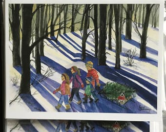 Fine Art Watercolor Print Image,Christmas Cards,60 Cards Bundle Sale,Kids  WalkThrough Woods W/Sled,Tree, Boston Terrier by Janet Dosenberry