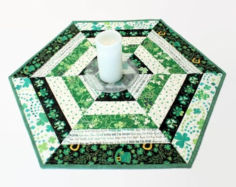 Hexagon Quilted St. Patrick's Day Table Topper, Green and White Candle Mat.  Shamrocks Table Runner Quilt, Kiss Me I'm Irish Cotton Fabric