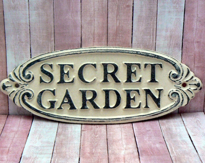 Secret Garden Gate Cast Iron Sign Ivory Off White Wall Plaque
