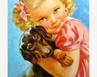 ONSALE Adorable little Girl with her Dachshund Doxie Weiner Dog Puppy Dog Cards for Altered Art