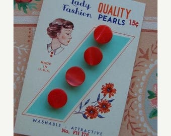 ONSALE Antique Button card Gorgeous Cherry Red Glass Pearl Set on Original Card with 15 cent price Mint Condition