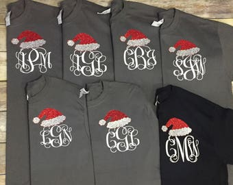 Personalized Santa hat shirt, personalized Christmas shirt, initial Christmas shirt