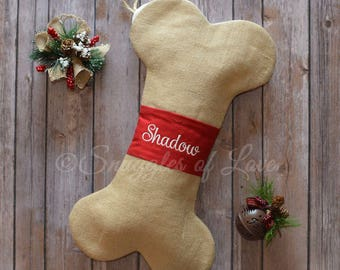 Personalized Dog Bone Christmas Stocking - Burlap Dog Stocking - Bone Shape Burlap Stocking - Embroidered Dog Stocking - Pet Stocking