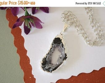 ON SALE Geode Necklace Silver, Crystal Necklace, Geode Agate Slice, Druzy Pendant, Natural Geode, GS18