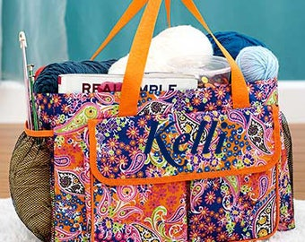 Oversized Multi-Pocket Utility Totes- Embroidered, Personalized, Paisley, Orange Multi-Floral, Flowers-SALE