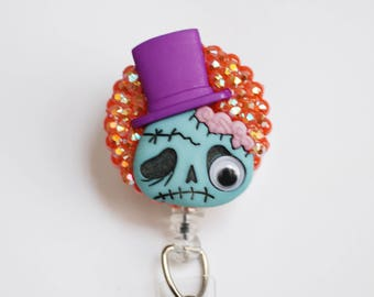 Halloween Dapper Zombie ID Badge Reel - Retractable ID Badge Holder - Zipperedheart