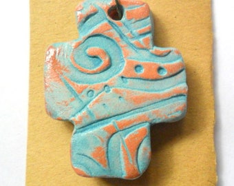 Distressed Turquoise Glazed Terra Cotta Little Cross Pendant Finding