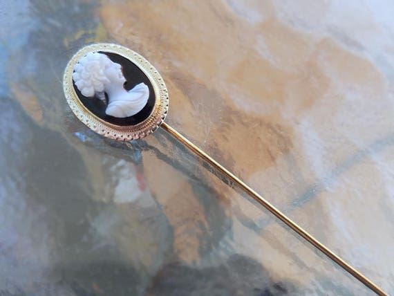 Antique Art Deco 14k yellow gold and white gold sardonyx hardstone cameo stick pin / stickpin / lapel pin / tie pin / tie tack / brooch