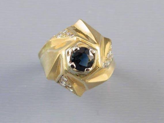 Vintage modernism 14k diamond blue sapphire geometric pinwheel dome statement ring, size 6-1/4